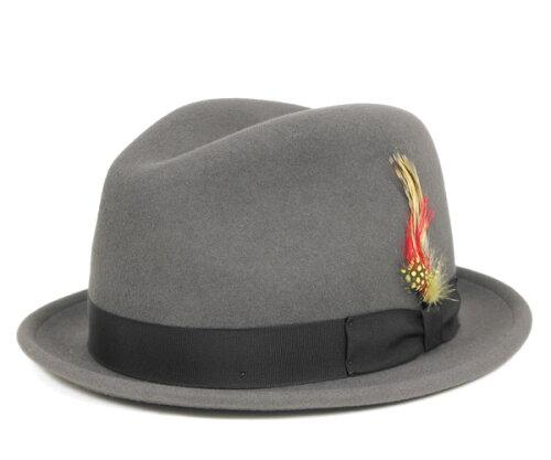 ニューヨークハット(NEW YORK HAT)フェドラハット ピンチド スティンジー グレー 帽子 FEDORA HA...