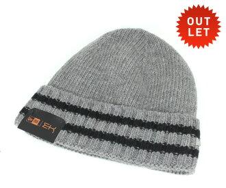 新時代冰集合針織帽子針織的帽童帽配音條紋的灰色帽子新時代 EK 集合 #KT [新時代新時代新時代帽新時代帽新時代紐埃爾章新時代新時代男人],[GY]