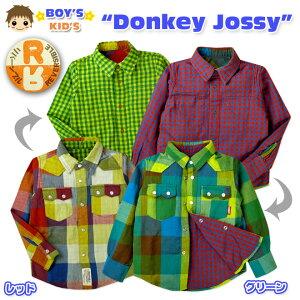 【男児キッズ】【シャツ】Donkey Jossy/ドンキー・ジョシー チェック柄ダブルガーゼ リバーシブル長袖シャツ【100cm】【110cm】【120cm】