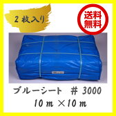 ブルーシート 10m×10m 3000番ブルーシート 2枚入り ジャンボシート 送料無料