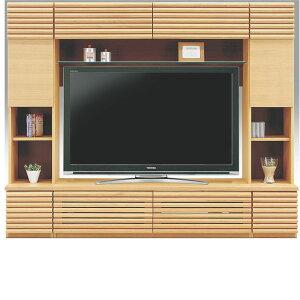 大型の壁面テレビ台 ハイタイプ テレビ台 テレビボード 幅220cm 高さ180cm 前面ルーバー調 格子デザイン  横桟デザイン 壁面収納 オーク突き板材 オーク無垢材 プッシュラッチ付き デッキ収納