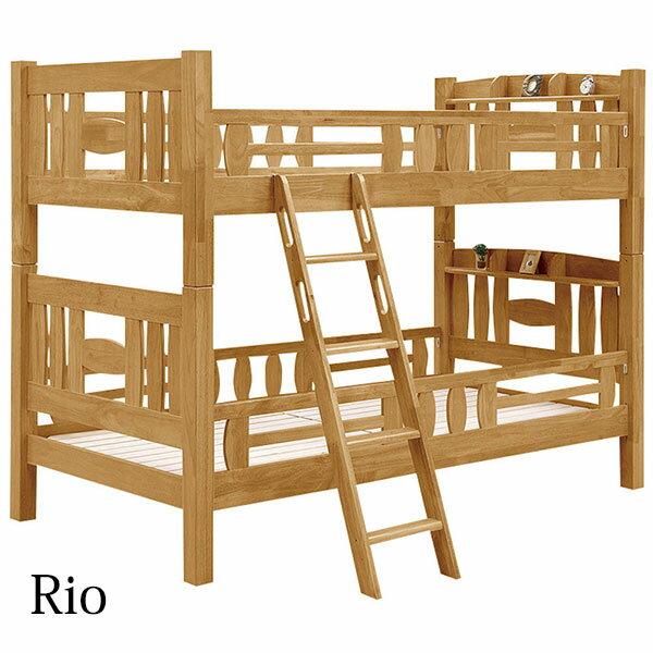 2段ベッド 二段ベット 子供部屋 ナチュラル ライトブラウン 柵付 北欧 モダン 木製:大川家具三昧