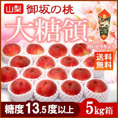 御坂の桃 大糖領白桃(16-20玉/5kg)山梨産 糖度13.5度以上 お中元 夏ギフト 送料無料
