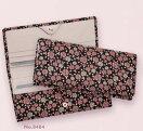 【送料無料】印伝かぐわ薄型長財布束入れ印傳屋上原勇七8404黒地に白とピンク漆のバラ【代引き不可】