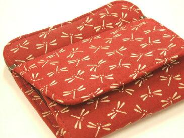 印伝 1208小銭入れがパッカリ開く財布赤地に白漆のとんぼ