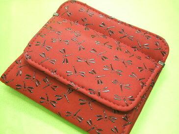 印伝 小銭入れがパッカリ開く財布赤地に黒漆のとんぼ1208