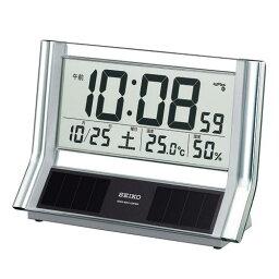 セイコー SQ690S デジタルクロック シースルーパネルの透明感でデスクまわりもスッキリ 温湿度表示やカレンダーなどの機能をもつハイブリッドソーラークロック 置き時計 送料無料