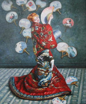 絵画クロード・モネ『ラ・ジャポネーズ』高級肉筆再現画12号(60.6×50.0cm)