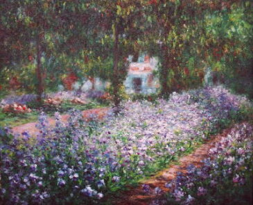 モネ『モネの庭、アイリス』高級肉筆再現画 12号(50.0×60.6cm)額付