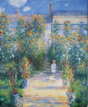 絵画クロード・モネ『ヴェトゥイユのモネの庭』高級肉筆再現画 15号(53×65cm)額付