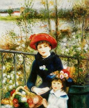絵画ルノワール『2人の姉妹(テラスにて)』高級肉筆再現画20号(60.6×72.7cm)