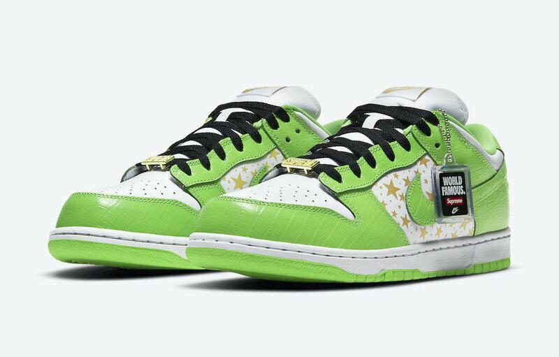 メンズ靴, スニーカー Supreme Nike SB Dunk Low OG QS GOLD STARS WHITEMEAN GREEN SB