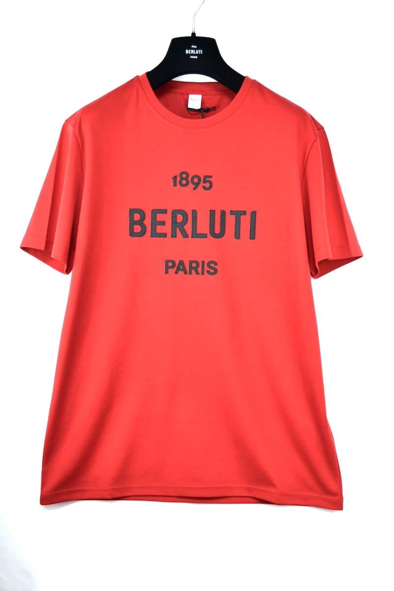 トップス, Tシャツ・カットソー BERLUTI T-Shirt Embroidered Logo Brick Red T