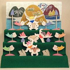 受注発注■小黒三郎 三童子三段飾り・特製垂幕