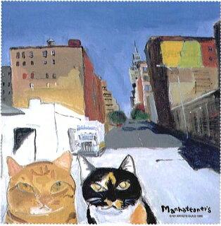 (マンハッタナーズ)Manhattaner'sかわいい猫のメガネ拭きメガネクロスMAN-21