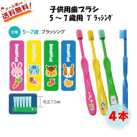 【全国送料無料】歯科専売 子供用 歯ブラシ ブラッシング 4色アソート 4本