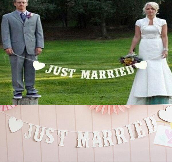 JUST MARRIED ウェディング用ガーランド フォトプロップス レターバナー【ネコポスは送料無料 宅配便780円】