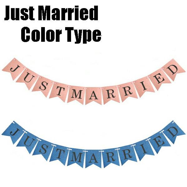 カラータイプ JUST MARRIED ウェディング用ガーランド フォトプロップス レターバナー ピンク/ブルー【ネコポスは送料無料】