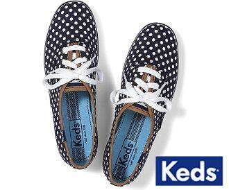 Keds帆布運動鞋女士(Keds)女子的運動鞋/點深藍/水滴花紋(CHAMPION NAVY WHITE DOTS)[正規的物品][明天支持輕鬆的_關東]02P28Sep16[輕鬆的gifu_包裝][明天輕鬆的_星期六營業]