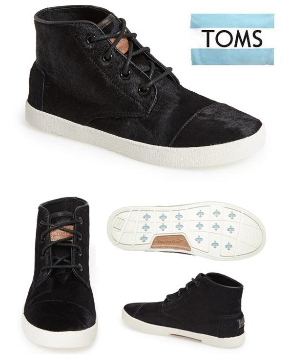 レディース靴, スニーカー TomsPASEOS HIGH Black Pony Hair