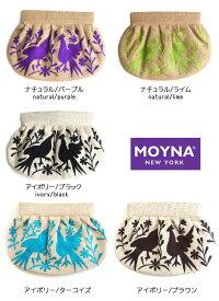 モイナ(Moyna)バード刺繍ギャザークラッチバッグ/小鳥柄/ブラック&グリーン&パープル【あす楽対応_関東】