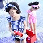 エプロンスタイル子供用水着3点セット女の子用スイムウェア子供キッズベビー水着85/90/95/100/110/120【クロネコDM便は送料無料】