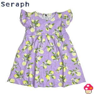 seraph(セラフ) レモン柄ワンピース 半袖 キッズ 女の子 トップス 姉妹お揃い 夏 ワンピース 子供服 綿100% ジュニア