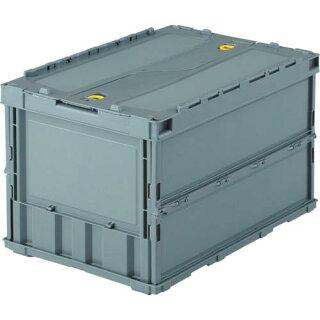 TRUSCO薄型折りたたみコンテナ50Lロックフタ付グレーTR-C50BGY(TRC50B)