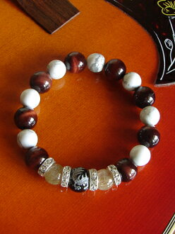 5A class large drop of red tiger eye 12mm ball & rutile quartz, luck with money up prayer, 73% of power stone bracelet sale special price OFF