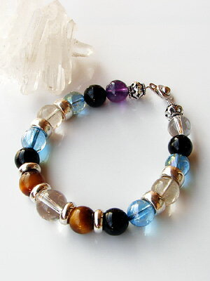 Silver & Onyx bracelet with Aqua aura [Amethyst with]