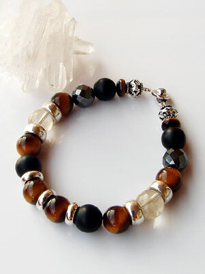 Silver& tiger eye / rutile quartz / mat onyx bracelet