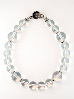 Natural quartz bracelet large Pearl 10 mm & 8 mm