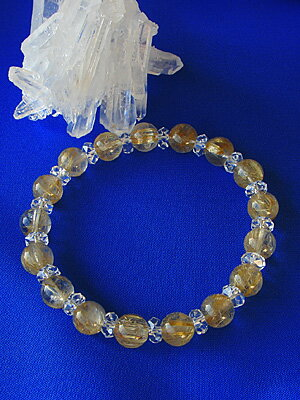 Golden rutile quartz 8mm ball bracelet