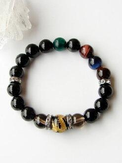 Five claw Dragon Onyx bracelet / 5 カラータイガーアイ-smoky quartz