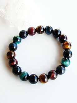 5-Color Tiger eye stone 10 mm pearl bracelet