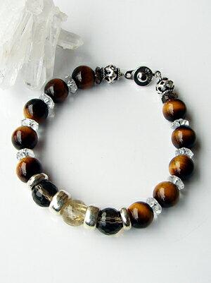 -Biker bracelet Silver and rutile/Onyx Tiger eye bracelet