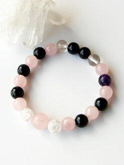 Onyx Rose Quartz Bracelet 8 mm (Amethyst with )