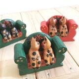 仲良しネコ チューネコ ソファねこ バリ木彫り アジアン雑貨 バリ雑貨 ねこの置物 カップルのネコ 木製ネコ エスニック雑貨
