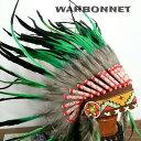 ウォーボンネット 羽根かんむり wn-12  グリーン ネイティブ インディアン 帽子・コスプレ 羽根飾り パーティー ハロウィン 1