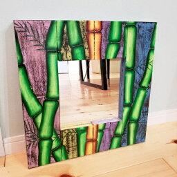 アウトレット アジアンミラー バンブー 竹 壁掛け鏡 バリ 鏡 インテリア 壁掛け かがみ