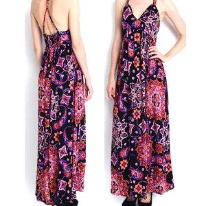 0c413608dcb36 Lani(ラニ)フローラルペイズリー柄マキシワンピース ロングドレス