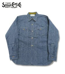 SUGAR CANE FICTION ROMANCE シュガーケーン 長袖|インディゴストライプ|ワークシャツ『5oz. INDIGO STRIPE WORK SHIRT』【アメカジ・ワーク】SC28650(Long sleeve shirt)