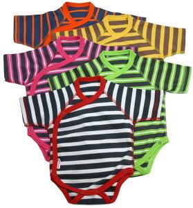 オーガニックコットン キモノ ボディスーツ(ボーダー)(ベビー服 赤ちゃん 新生児 長袖 出産準備 プレゼント 男の子 女の子 男児 女児)