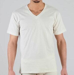 オーガニックコットン メンズ VネックTシャツ ナチュラル