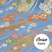 金襴和柄生地・青海波に小桜ブルー