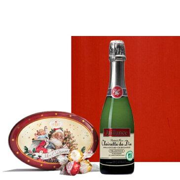 クリスマススイーツとスパークリングワインセット フランスのスパークリングとドイツのトリュフチョコレート クリスマスギフト缶