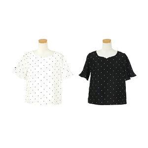 トップス/ブラウス/ドット/ハートネック/半袖/オフホワイト/ブラック