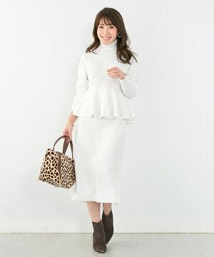 ニットワンピ/長袖/ウエスト切替/綺麗め/上品/秋/冬/春