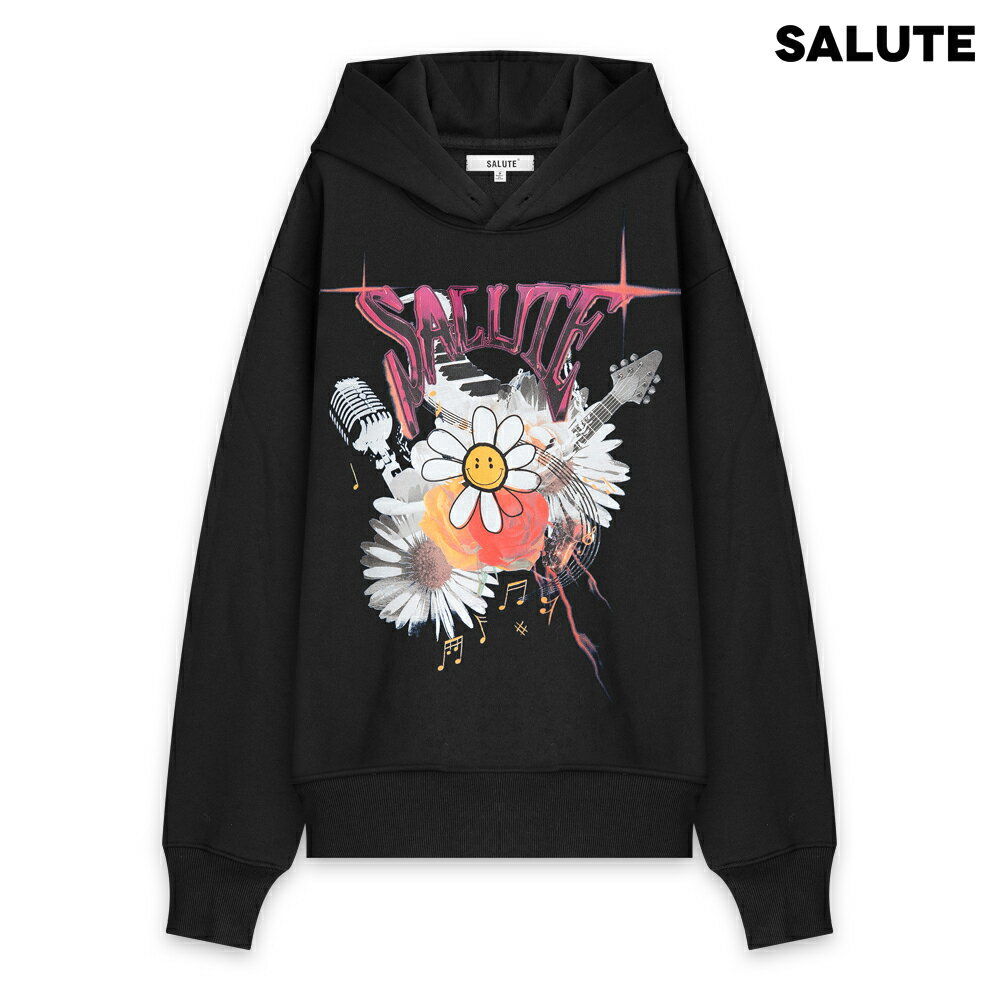 トップス, パーカー SALUTE FLOWER ANARCHY HOODIE - BLACK