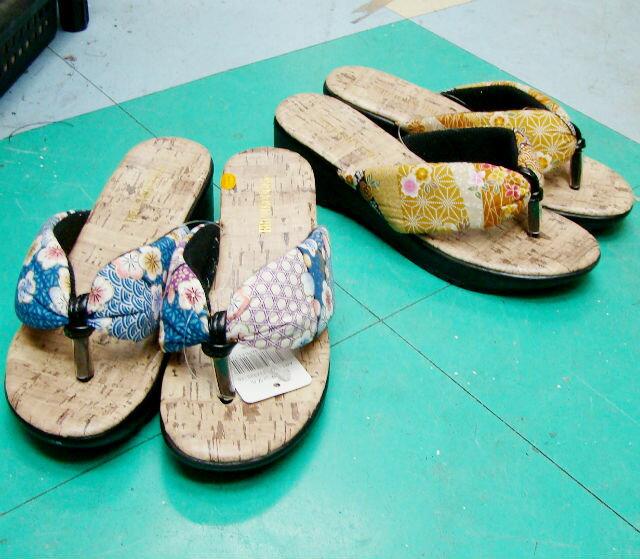 【靴】婦人 和柄鼻緒サンダル レディース